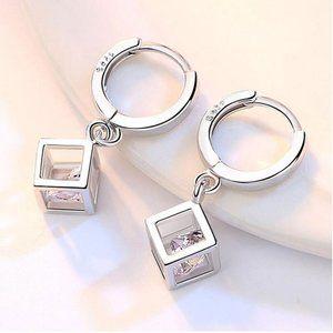 Jewelry - *NEW Sterling Silver Diamond Cube Hoop Earrings